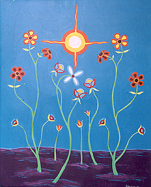 """Untitled Acrylic on Canvas, 20"""" x 24"""" Collection of the Artist 1993 """"This is the very first floral painting I did...the beginning of it all..."""""""