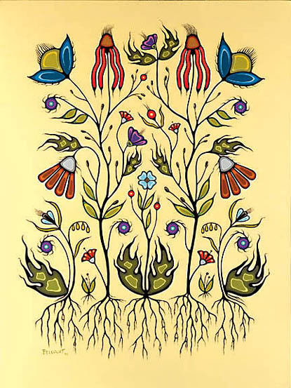 """Resilience of the Flower Beadwork People Acrylic on Canvas 36"""" x 48"""" 1999 Collection of Shane Belcourt & Amanda Greener"""