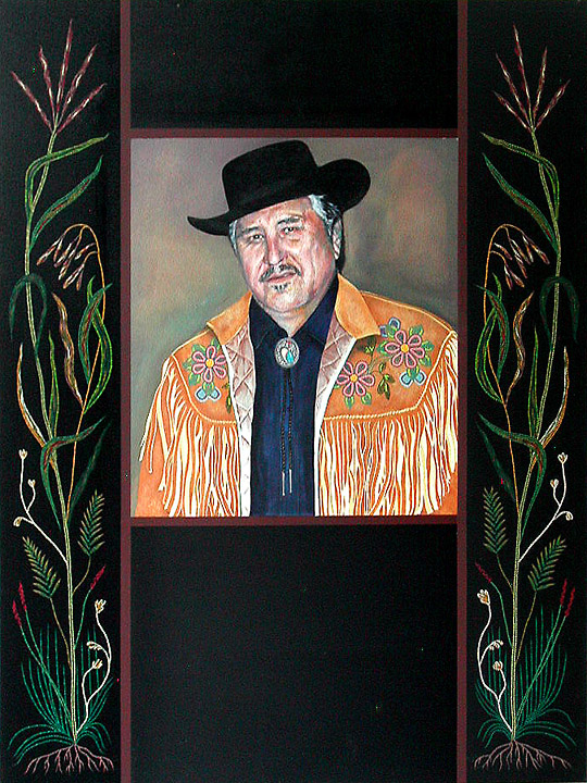 """Portrait of Harry Daniels 2005/6 Acrylic on Canvas, 36"""" x 48"""" Collection of the Gabriel Dumont Institute"""