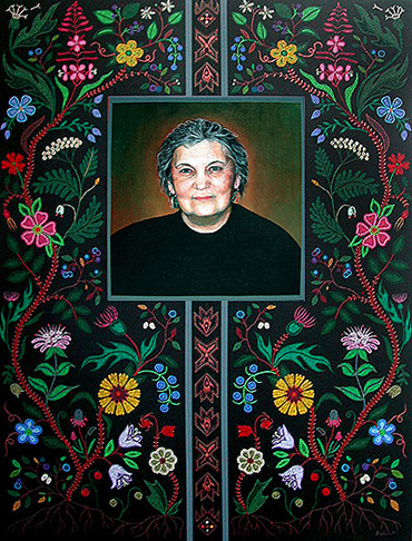 """Portrait of Maria Campbell 2005/6 Acrylic on Canvas, 36"""" x 48"""" Collection of the Gabriel Dumont Institute"""