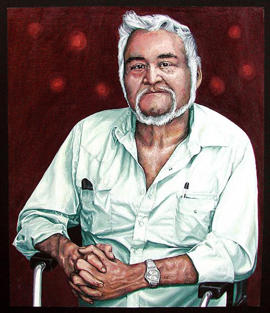 "Portrait of Steve Powley 2005 Acrylic on Canvas, 36"" x 48"" Collective of the Gabriel Dumont Institute"